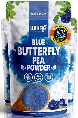 Wixar Organic Blue Butterfly Pea Flower Powder - (8 Ounce) - Culinary Grade Blue Matcha - Natural Food Coloring - Premium Quality Superfood - No Artificial Dye - Vegan Non-GMO