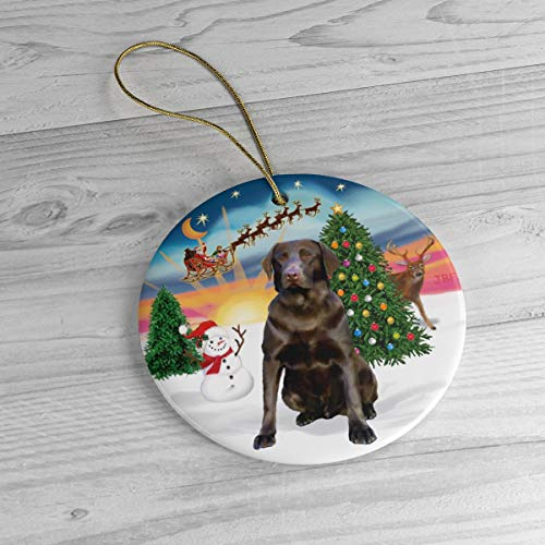 Chocolate Labrador in Santa's Take Off Keepsake Ceramic Ornament Personalized with Name and Year 3' Ceramic Ornament