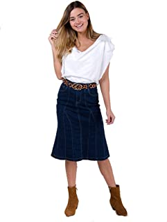 wash clothing company Flared Denim Skirt in Darkwash Blue with Stretch Panelled Jean Skirt Midi Skirt