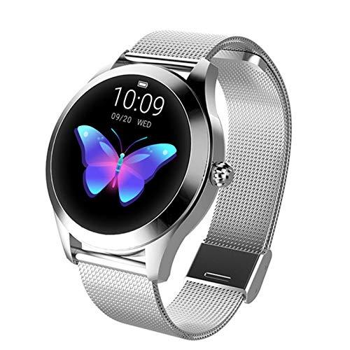 ZYY Moda Smart Watch Ladies KW10 IP68 Impermeable Modo Multi-Sports Mode Podómetro Tasa del Corazón Smartwatch Aptitud Pulsera Regalo para Las Señoras Regalo Android iOS,A