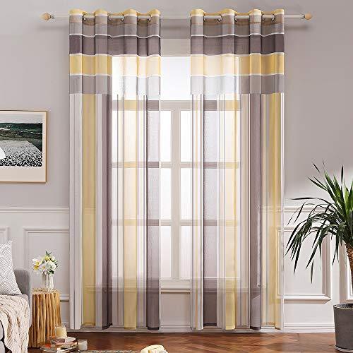 MIULEE Voile Vorhang Transparente Gardine aus Voile mit Ösen Schlaufenschal Ösenschals Transparent Fensterschal Wohnzimmer Schlafzimmer 2er Set 140x225 cm Braun + Gelb