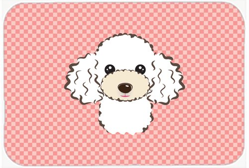 Caroline's Treasures BB1257MP Checkerboard Pink White Poodle Mouse Pad, Hot Pad or Trivet, Large, Multicolor
