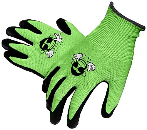 ACE 3 Paar Junior Garten-Arbeitshandschuhe - Schutz- & Bastel-Handschuhe für Kinder - EN 388 - Grün/Schwarz - 9-10 Jahre