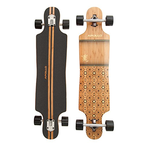 Apollo Longboard Nuku Hiva, Bambus Komplettboard, Twin-Tip Drop-Through Freeride Cruiser Board