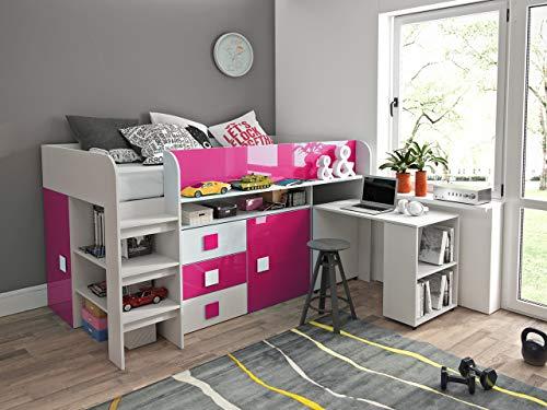Etagenbett für Kinder TOLEDO 1 Stockbett mit Treppe und Bettkasten KRYSPOL (Weiß + Rosa Glanz)