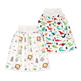 2 Pieces Waterproof Diaper Skirt Shorts for Baby Boys and Girls,Breathable Cotton Potty Training Pants for Toddler,Nighttime Bedclothes/Bedwetting Cover Pad for Toddler 0-4T
