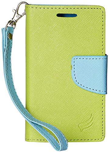 Eagle Cell ZTE Z667/Zinger/Prelude 2/Whirl 2 Flip Wallet PU Leather Protective Case - Retail Packaging - Light Blue/Green