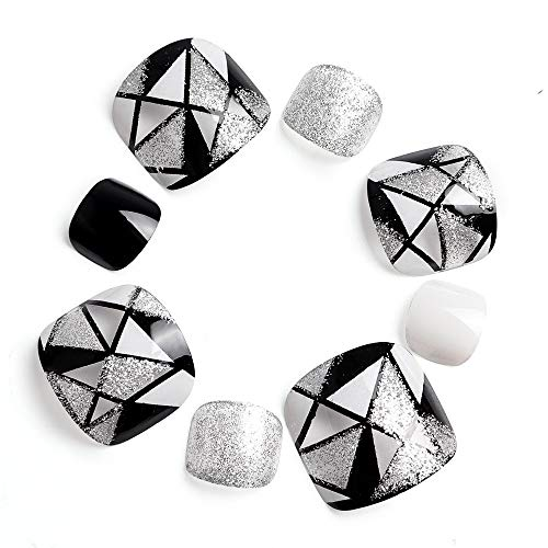 LIARTY 24 Stück Zehennägel Geeignet Falsche Zehennägel Set Schwarz Weiß Silber Geometrie Glitzer für Fullcover Künstliche Toe Nail Tips für Damen und Frauen