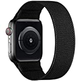 ENJINER Stretchy Nylon Solo Loop Bands Compatible with Apple Watch 38mm 40mm 42mm 44mm iWatch Series 6 SE 5 4 3 2 1 Strap, Sport Elastic Braided No Buckles Clasps Women Men, 42/44mmS Black