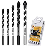 Concrete Drill Bit & Masonry Drill Bit Set, Professional Drill Bit Set (5PCS) for Glass/Brick/Plastic/Cement/Wood/Tile/Etc, Industrial Strength Carbide Drill Bit Tip, 1/4'-1/2' by TITGGI