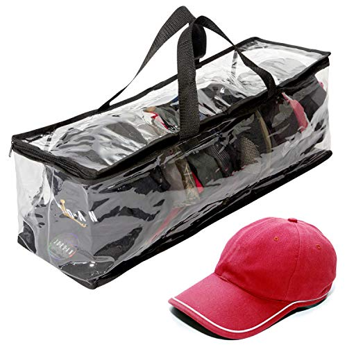 """Houseables Hat Storage Organizer, Baseball Cap Bag, Washer Case, 23"""" x 6"""" x 8"""", Clear Plastic, Stand Holder, Black Handles, Box with Zipper Closure, Stores & Racks 22 Hats, Dirt & Dust Protection"""