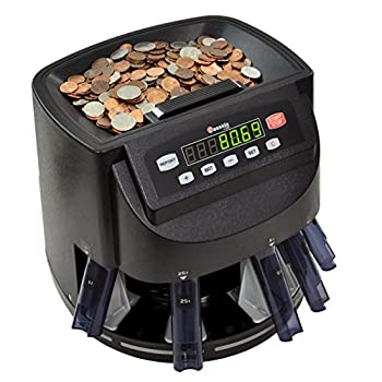 Cassida C200 Coin Counter Sorter and Wrapper   Counts Sorts and Rolls 1¢ 5¢ 10¢ 25¢ and Dollar Coins up to 300 Coins Per Minute   Batch & Add Features   Included 5 Coin Bins 5 Tubes & Wrappers