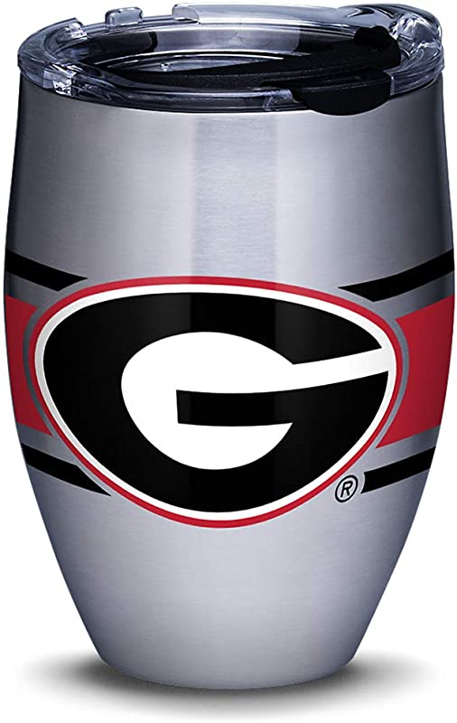 Tervis 1310225 Georgia Bulldogs Stripes Stainless Steel Insulated Tumbler With Clear And Black Hammer Lid 12oz Silver
