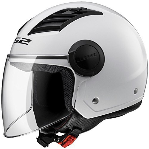LS2 Airflow L Open Face Motorcycle Helmet Gloss White (XXL)