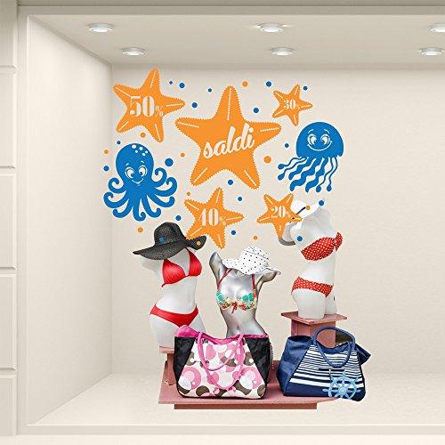 VSD0395 - Adhesivos murales para ventanas de escaparates Saldi – Saldi Marini – Medidas 70 x 52 cm – Naranja y azul – Vitrina tiendas para saldos de verano, pegatinas, adhesivos