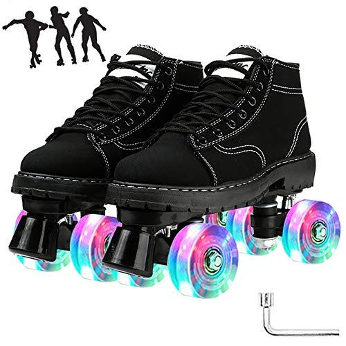 WOERD Roller Quad Skates Estilo de Botas Martin,Patines de Ruedas para Mujeres,4 Ruedas con Luces Rollerblades,Skate Patines en Paralelo Retro,Deportes al Aire Libre