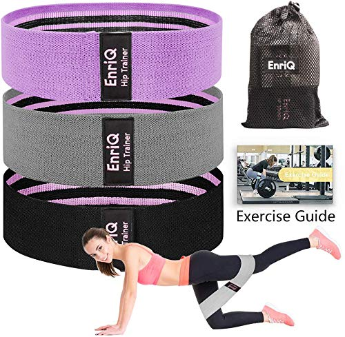 EnriQ Booty Bands Fabric Resistance Bands for Legs and Butt - Non Slip Cloth Hip Bands Elastic Workout Bands - Activate Glutes and Thighs - Made of Premium Elastic Fabric (Black-GP)