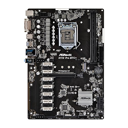 ASROCK H110 PRO BTC+ Intel H110 1151 ATX Designed for Crypto Mining 1 x PCIe3.0 x16 12 x PCIe2.0 x1 - (Components > Motherboards) Components & Replacement Parts Computers & Accessories