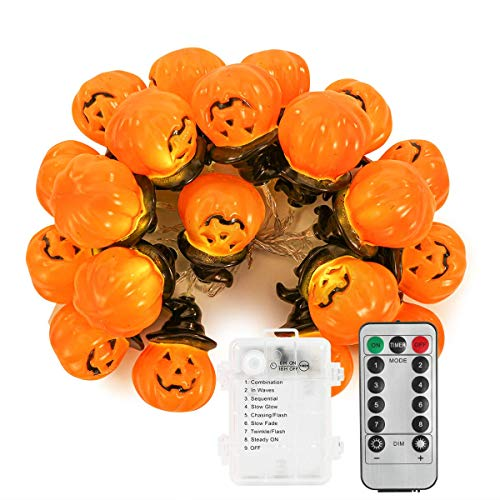 Halloween Festive Lighting Decoraions, Halloween Pumpkin String Light 2M 20LED Battery Operated String Light with 8-Modes for Home Cosplay Party Decor