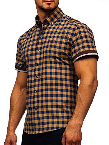 BOLF Herren Hemd Kurzarm Trachtenhemd Karohemd Freizeithemd Slim Fit Kariert Baumwollmischung Sommer Casual Style 4508 Braun L [2B2]