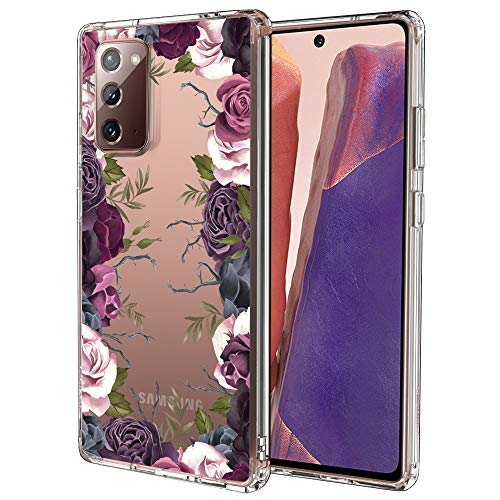 for Samsung Galaxy Note 20 Case, for Samsung Galaxy Note 20 5G Case, MOSNOVO Crystal Clear Slim Soft TPU + PC Cover Case with Violet Garden Floral Design Case for Galaxy Note 20 (2020)