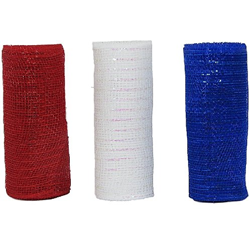 Decorative Mesh 3 Rolls Red, White, Blue, 6 inches by 5 yards for Crafts and Decor F-01