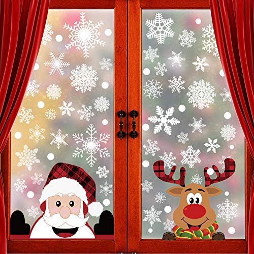 300 PCS 8 Sheet Christmas Snowflake Window Clings Stickers, Xmas Decals Decorations Snowflake Santa Claus Reindeer Decals for Glass Window Door Holiday Party Supplies