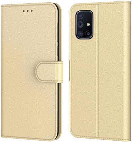 AURSTORE Handyhülle für Samsung Galaxy A51 Hülle, Premium PU Leder Schutzhülle Abdeckung, Magnetverschluss,Tasche Leder Flip Hülle Brieftasche Etui für (Samsung A51, Gold Book)