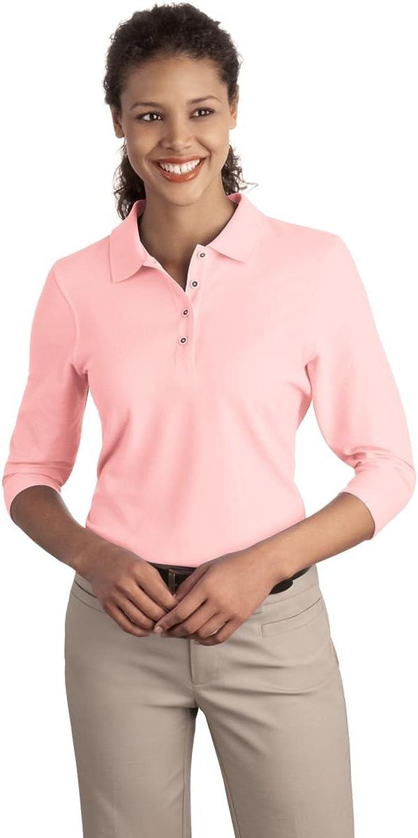 Port Authority Ladies Silk Touch 3/4-Sleeve Sport Shirt, Light Pink, S