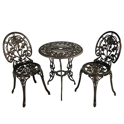 HOMEFUN Bistro Table Set, Antique Bronze Rose 3 Piece, Outdoor Patio Table and Chairs Furniture, Durable Rust Weather Resistance