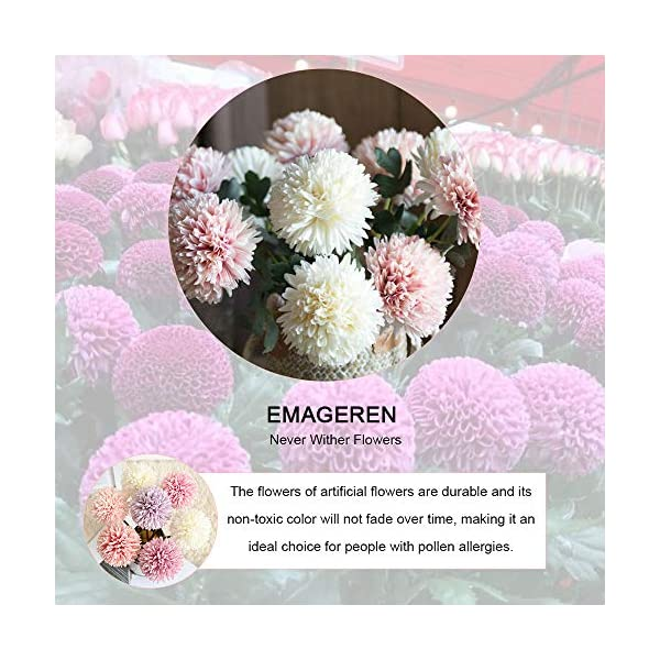 EMAGEREN 8pcs Flores Artificiales, Ramos de Flores Artificiales, Flores de Hortensia Artificial, 4 Colores, Flores…