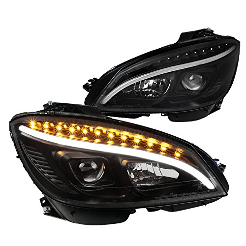 Replacement Black DRL Strip LED Signal Projector Headlights Made For And Compatible With Benz W204 C-Class