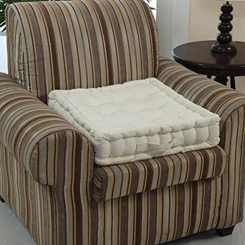 Homescapes extrahohes Sitzkissen orthopädisch mit Tragegriff Sitzerhöhung Aufstehhilfe ca. 50 x 50 x 10 cm, Bezug aus Baumwolle, 100% Polyester Füllung, Uni Creme