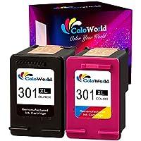 ColoWorld 301XL Cartuchos de tinta para impresora HP 301(compatible con impresoras Envy 4500,5530,4504,Deskjet 2620,2540,1510,1000,1010, 2510,Officejet 2620,4636,4632,4630,1050(1 color,1 negro)