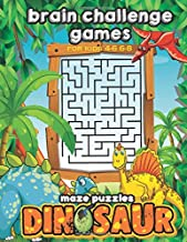 Brain Challenge Games For Kids 4-6 6-8 : Dinosaur Maze Puzzles: Fun Mazes Activity Workbook Game For Freetime