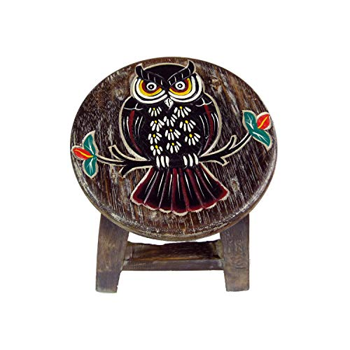 Simandra Holzhocker Kinderhocker Hocker Sitzhocker Fußbank Massivholz Schemel Stuhl mit Tiermotiv Deko braun Farbe Eule