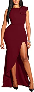 Womens Sexy Ruffles Sleeveless Side Split Evening Gown Bodycon Maxi Party Dress