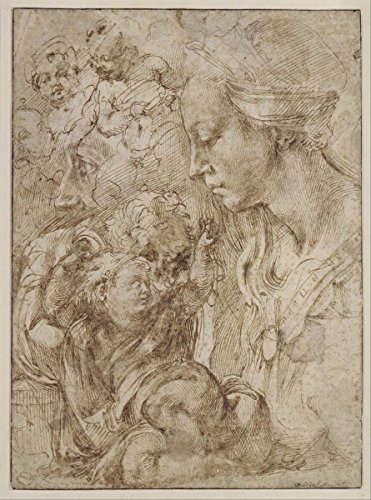 Gifts Delight Laminated 24x32 Poster Michelangelo Buonarroti - Studies for a Holy Family
