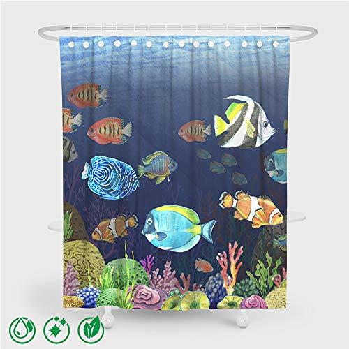 Enhome Waschbar Duschvorhang mit 12 Duschvorhangringe, Wasserdichter Anti-Schimmel Duschvorhang aus Polyester Blau 3D Unterwasserwelt Druck Badezimmer Bad Vorhang (150x180cm,Tropischer Fisch A)