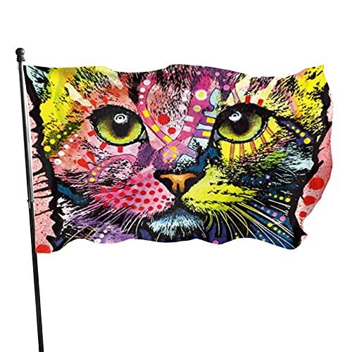 Lewiuzr Bandiera da Giardino - Colori Vivaci e Resistenti ai Raggi UV - Trascorri Tutte Le Vite con Te Bandiera Colorata per Gatti in Poliestere con Occhielli in Metallo 90 x 150 cm