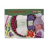 Loom Knitting Pattern Kit for Beginners - Hat Set - White Hat & Purple Pompom - BambooMN
