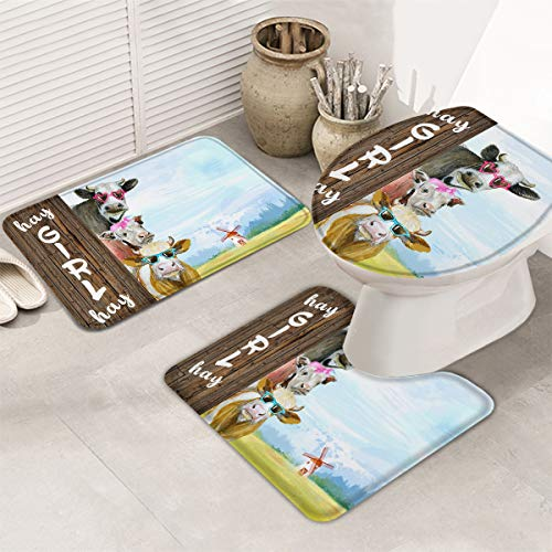 Bath Rugs Mats Set of 3, Funny Cow Farmhouse Non Slip Bathroom Rug+U-Shaped Contour Toilet Mat+Toilet Lid Cover, Hay Girl Hay Cattle, Absorbent&Washable 3 Pcs Mats Set for Bathroom/Home