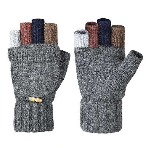 VBIGER Winter Gloves Warm Wool Mittens With Mitten Cover