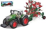 FENDT 1050 VARIO TRACTOR + RANGHINATORE cm 22 - Burago - Mezzi Agricoli e Accessori - Die Cast - Modellismo