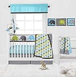Bacati 10-Piece Elephants Nursery-in-A-Bag Crib Bedding Set with Long Rail Guard, Aqua/Lime/Grey