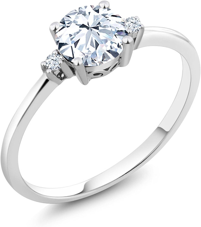 10K White gold 3 Stone Ring Round White Zirconia White Created Sapphire (0.87 cttw)