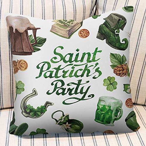 Happy St Patricks Day Series Sister Gift Irish Blessing Shamrocks Clovers Arpillera Throw Pillow Case Funda de Almohada Funda de cojín Cuadrado Decorativo