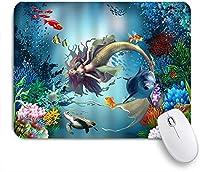 PATINISAマウスパッド 人魚イルカ金魚カメ海洋動物 ゲーミング オフィス最適 高級感 おしゃれ 防水 耐久性が良い 滑り止めゴム底 ゲーミングなど適用 マウス 用ノートブックコンピュータマウスマット