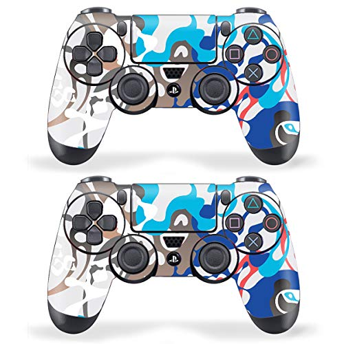 Techfit Pack of 2 Skin for Sony Playstation 4 , PS4 Slim , PS4 Pro DualShock Remote Wireless Controller - Coloful Camouflage