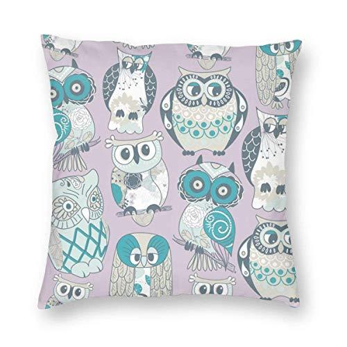 ~ Owls Home Decor Throw Pillow Cover, Lightweight Soft Plush Square Decorative Pillow Case 18x18 Inch Cushion Cover, Sham Stuffer, Machine Washable